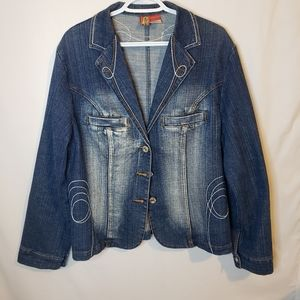 Boom Boom Jean jacket 1x plus size embroidered